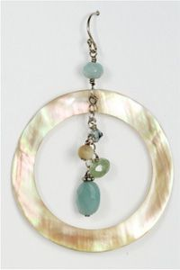 Shell & Jade Hoops $44.00 #jewelry #beachfashion #fashion #beachjewelry #earrings