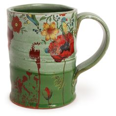 Justin Rothshank: Green Poppy Mug 1 - The Clay Studio