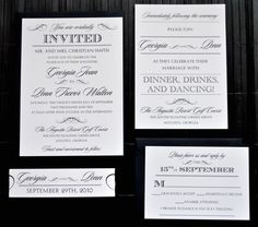 Hollywood Wedding Invitation Suite with Belly Band - Ivory and Black. $3.99, via Etsy.
