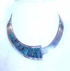 Heavy Vintage TAXCO MEXICO Sterling Silver 925 Collar NECKLACE Malachite Lapis