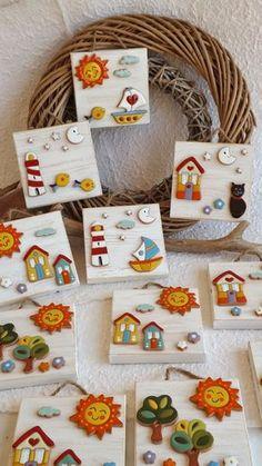 ceramica come mestiere: Allegri, colorati ed originali. Quadretti in legno...