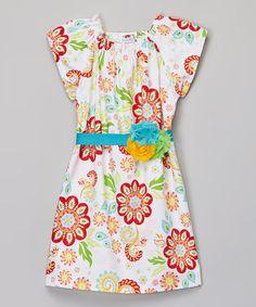 Loving this Red & Blue Flower Belted Dress - Infant, Toddler & Girls on #zulily! #zulilyfinds