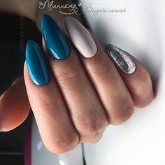 Beautiful blue nails, Blue nail art, brilliant nails, Christmas nails, Festive n… New Year's Nails, Hair And Nails, Dream Nails, Manicure E Pedicure, Super Nails, Nagel Gel, Cute Acrylic Nails, Matte Nails, Perfect Nails