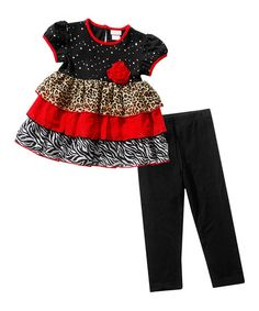 Loving this Black & Red Ruffle Tunic & Leggings - Toddler & Girls on #zulily! #zulilyfinds