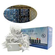 LED Window Curtain Icicle Lights 120V Linkable 8 Modes Rotary Memory Switch 65ft Width 32ft Height 180 CT Warm White Christmas String Fairy Lights for Wedding Party Festival Decorations By Babali * You can get more details by clicking on the image. (This is an affiliate link) Led Curtain Lights, Icicle Lights, Indoor String Lights, Fairy Lights, Lead Windows, Xmas Holidays, Festival Decorations, Window Curtains, White Christmas