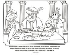 Kids coloring page from What's in the Bible? featuring Esther hosting a dinner party for King Xerxes and Haman from Esther 7. Volume 7: Exile and Return!