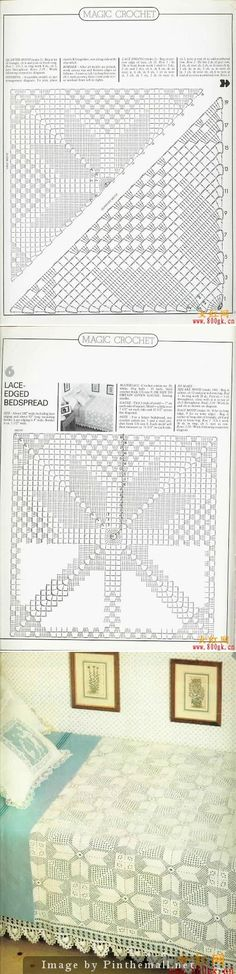 Lace edged bedspread, filet crochet star squares ~~ Edging not charted, see a very similar one here: http://www.pinterest.com/pin/473159504575406251/
