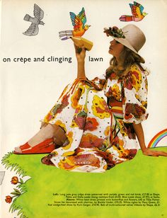 White lawn dress printed with butterflies and flowers by Thea Porter. Straw hat by Buckle Under. Red wedge shoes by Kurt Geiger. Belt by Shape / Photographed by Harri Peccinotti. Illustrations by Michael Foreman. Scanned by Miss Peelpants from Vanity Fair, April 1971