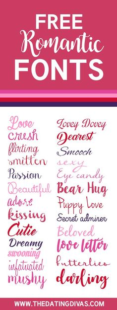 FREE Romantic Fonts- a whole collection of cute and gorgeous fonts ALL FREE!