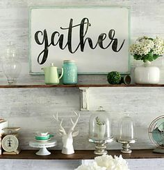 "Like the ""Gather"" sign on a shelf - Pretty farmhouse dining room shelves, click through to see how easily the room came together. Step by step how to create this look! DIY farmhouse shelves using stain + paint! Diy Interior, Room Interior, Kitchen Decorating, Gather Wood Sign, Dining Room Shelves, Dining Rooms, Diy Spring, Diy Casa, Style Rustique"