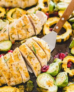 This easy sheet pan dinner includes maple mustard chicken breasts along with Brussels sprouts, delicata squash and cranberries. Duck Recipes, Best Chicken Recipes, Tofu Recipes, Easy Family Dinners, Quick Easy Meals, Delicious Dinner Recipes, Brunch Recipes, Maple Mustard Chicken, Chicken And Vegetables