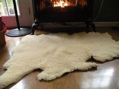 Sheep Skin Rug fireplace rugcabinOff white by Traincasesandmore