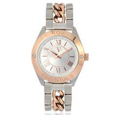 Edelstalen horloge in de kleuren zilver en rosé. Perfecte kleurencombinatie. Op de wijzerplaat zijn Roemeinse cijfers aangegeven en een TOV logo!