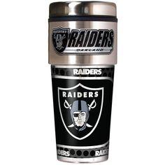 Oakland Raiders NFL Metallic Travel Tumbler, Stainless Steel and Black Vinyl, 16-Ounce
