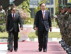 UN Secretary General Ban Ki-moon, center, inspects honor guards with East Timorese President Taur Matan Ruak, left, prior to their meeting in Dili, East Timor, Wednesday, Aug. 15, 2012. (AP Photo/Kandhi Barnez) ▼15Aug2012AP|UN chief says East Timor ready to protect itself http://bigstory.ap.org/article/un-chief-says-east-timor-ready-protect-itself #Ban_Ki_moon #Taur_Matan_Ruak #Dili #East_Timor #Timor_Lorosae