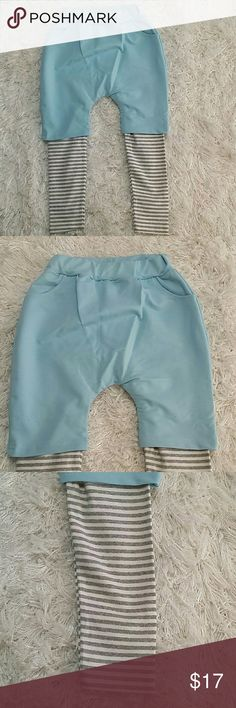 Long Shorts for Boys. 4T. Adorable and comfortable light blue boy shorts on top of striped legging.  Very comfortable.  Have pockets  Pull up style  This item is brand new and never used. No tags. Bottoms