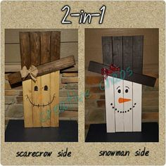 Check out this cute holiday decor standing wood art. One side features a scarecrow and the reverse features a snowman. One item for two