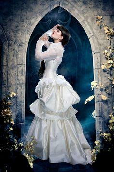 Steampunk Wedding Dress  Victorian Bustle Gown by KMKDesignsllc, $1300.00
