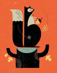 Mr. Squirrel Art Print, Children's Art Print, Nursery Decor, mid-century modern
