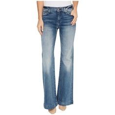 7 For All Mankind Tailorless Dojo w/ Tonal in Wall Street Heritage... ($199) ❤ liked on Polyvore featuring jeans, flare jeans, low rise jeans, wide waistband jeans, frayed flare jeans and zipper pocket jeans