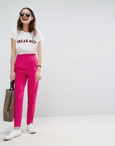 Pink Highwaist Cigarette Pants
