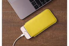 iPhone SE Pull-strap case - Lemon yellow - Goat Leather