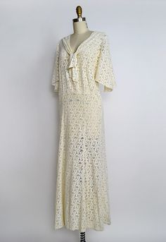 1930s Dresses | vintage 1930s eyelet lace wedding dress [Avonlea Sonnets Dress] - $328 ...
