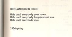 yoko ono hide-and-seek piece poem book - picslist.com
