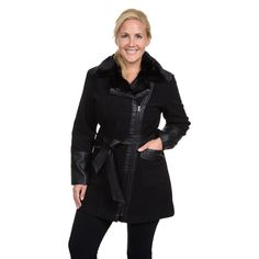 Plus Size Excelled Belted Faux-Wool Jacket, Black