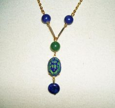 EGYPTIAN REVIVAL Necklace CZECH Glass LAVALIER Genuine Lapis Beads ART DECO