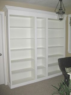 DIY built-in bookshelves - total project $250, basement hallway wall???