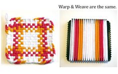 Loom Potholder Tutorial - VeryPink offers knitting patterns and video tutorials from Staci Perry. Short technique videos and longer pattern tutorials to take your knitting skills to the next level. Potholder Loom, Potholder Patterns, Weaving Patterns, Knitting Patterns, Knitting Tutorials, Stitch Patterns, Loom Weaving, Hand Weaving, Fabric Weaving