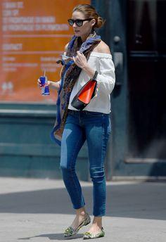 7/1 #オリビア・パレルモ #オフショルダーブラウス #スキニージーンズ #ビジューフラット |海外セレブ最新画像・私服ファッション・着用ブランドまとめてチェック DailyCelebrityDiary*