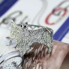 $13.99 Bat Shape Design Silver Tone Bangles Bracelets Inlaid Clear Rhinestone_Fashion Bracelets_Fashion Jewelry Hot Sale