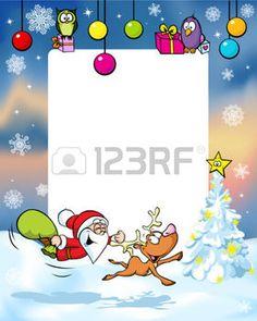 Weihnachten Rahmen mit lustigen Weihnachtsmann Rentiere, Weihnachtskugel und Geschenk photo