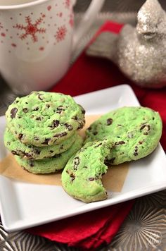 At this time of year, everything tastes just a little bit better when it's green! I am drooling just thinking about these Mint Chocolate Chip Cookies!