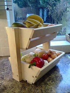 Cool design - would love to make this out of pallet wood! New Wood Vegetable Rack Storage Fruit Box Basket kitchen Produce Vegetable Rack, Vegetable Storage, Vegetable Basket, Kitchen Organization, Kitchen Storage, Woodworking Projects, Diy Projects, Project Ideas, Small Wood Projects