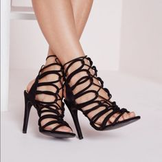 Rope lace up heel New in box, never been worn. Misguided. Black suede Missguided Shoes Heels