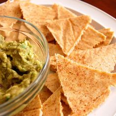 Homemade Tortilla Chips- I could eat these all day.