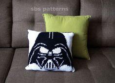 Crochet Pillow Pattern, Pillowcase Pattern, Crochet Patterns, Star Wars Crochet, Crochet Stars, Color Secundario, Crochet Disney, Cat Scarf, Darth Vader
