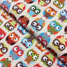 Half metre Cream Owl C8366 Patchwork Quilting Fabric Timeless Treasures