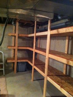 DIY shelves for our back storage room in the basement. Basement Storage Shelves, Lumber Storage, Garage Shelf, Garage Storage, Diy Storage, Diy Shelving, Storage Cart, Storage Ideas, Storage Room