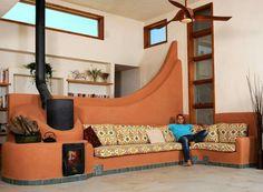 Amazing Rocket Mass Heater in Giv'atayim, Israel built by Kamin Masa Diy Heater, Stove Heater, Tiny Homes, New Homes, Rocket Mass Heater, Earth Homes, Rocket Stoves, Natural Building, Earthship