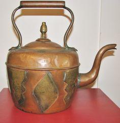 Gooseneck Tea Kettle Copper and Brass circa early 1900's - 89