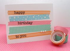 simple washi tape birthday card