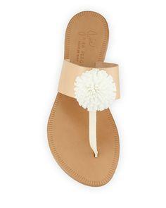 Nadie Pompom T-Strap Flat Sandal
