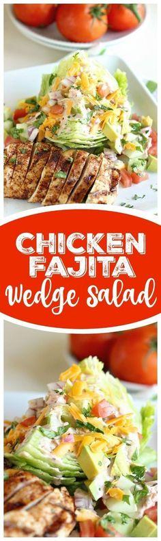 Fajita Wedge Salad This Chicken Fajita Wedge Salad is a perfect way to enjoy fajitas in a light, healthy, and low-carb way!This Chicken Fajita Wedge Salad is a perfect way to enjoy fajitas in a light, healthy, and low-carb way! Low Carb Recipes, Diet Recipes, Chicken Recipes, Cooking Recipes, Healthy Recipes, Diet Meals, Diet Foods, Grilling Recipes, Vegetable Recipes