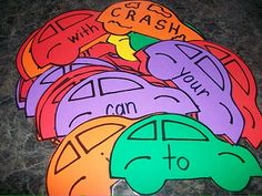 Wonder if we have a car die cut.Crash game: pick a sight word car, read the word and you can keep it if you get it right; pick a CRASH card, and all the card go back. n the one w/the most cars, wins. Teaching Sight Words, Sight Word Activities, Kindergarten Activities, Kindergarten Centers, Kindergarten Reading, Teaching Reading, First Grade Reading, School Games, Sunday School Crafts