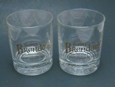 Saint Brendan's Irish Creme Liqueur Two 2 Lowball Glasses Gold Letters Embossed  #SaintBrendansIrishCremeLiqueur