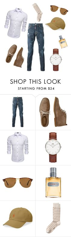 """Meeting Downtown"" by michaelmartin714 ❤ liked on Polyvore featuring Hush Puppies, Daniel Wellington, Persol, Aramis, Polo Ralph Lauren, men's fashion and menswear"